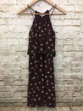 Madewell Women's Silk Dreamdrift Overlay Dress Tiered Brown Palm Trees Sz 00