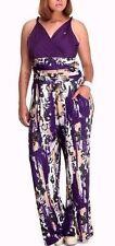 Apple Bottoms Wrap Top Jumpsuit Twisted Strap High Waist Purple Print Plus Size