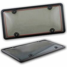 Zento Deals 2x License Plate Tag Shield Cover and Car Frame Clear Tinted Smoked
