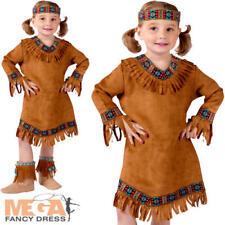 Native American Girls Fancy Dress Western Indian Kids Childrens Costume Age 1-4