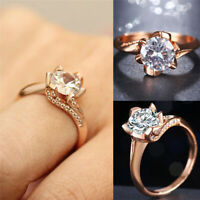 Fashion Women Engagement Wedding Ring Crystal Gold Silver Plated Rings Jewelry