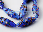 2 piece Dp Blue Oval Lampwork Glass Charm Loose Spacer Finding Beads 43x15mm