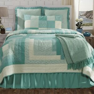 SEA COTTAGE BLUE CREAM 4 PC KING QUILT BEDDING SET W/ SHAMS AND BEDSKIRT