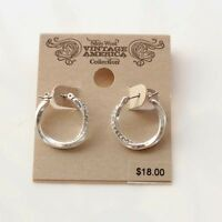 New Nine West Rhinestone Twisted Hoop Earrings Gift Pretty Vintage Women Jewelry