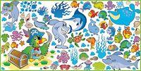 WANDTATTOO Fische Delfine Hai Ozean Meer Badezimmer Wand Dekor Aufkleber SET 2