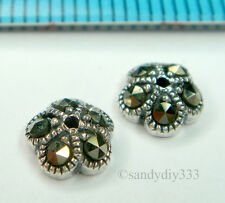 2x OXIDIZED STERLING SILVERFLOWER  MARCASITE BEAD CAP 6.2mm SPACER #1450