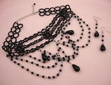 Negro Imitación Perla Victoriana y aspecto gótico burlesco Collar Y Aretes