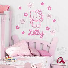 Personalised HELLO KITTY + Flowers Wall Art Girls Room Childrens Kids Sticker