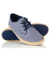 New Mens Superdry Skipper Shoes Blue Textured Denim