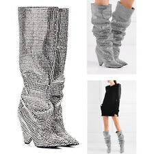 Embellished Rhinestone Crystal Covered Knee High Slouch Boot | US Seller