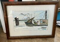 Framed Watercolor Nautical Boat Christmas Tree Dock Small Signed May E