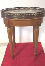 VINTAGE OVAL ITALIAN BEIGE MARBLE TOP WOOD TABLE BRASS HEART CUT OUT EDGING