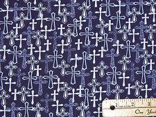 Faith Crosses on Navy Blue Religious Fabric by the 1/2 Yard 43026-1