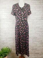 Vintage 90s MSK dress size 12P floral rayon button-front double layer mid calf