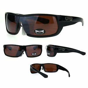 Choppers Mens Black Shield Rectangular Biker Gangster Sunglasses Brown Lens