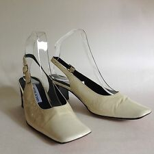 Pascual Roman Patent Leather 1990s Vintage Ivory Slingback Shoes Size UK 5 EU 38