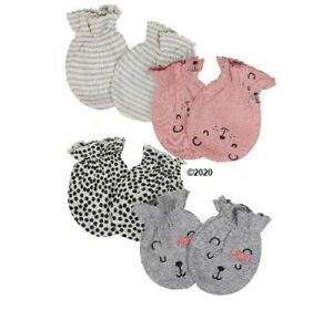 Gerber Baby Girl 4-Pack Pink/Gray Bear Organic Mittens Size 0-3M