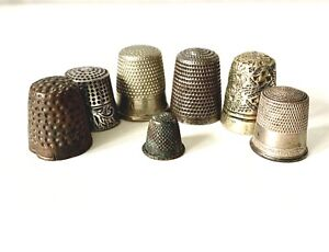 Vintage Antique JOBLOT of 7 THIMBLES Mixed Sizes