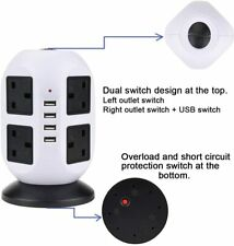 8 Way Surge Protected Tower Extension Lead Socket Plug with 4 USB Port
