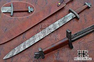 HUNTEX Custom Handmade Damascus 790mm Long FullTang Rosewood Handle Viking Sword