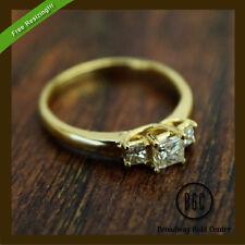14k Yellow Gold Not Enhanced Princess Diamond Engagement Rings