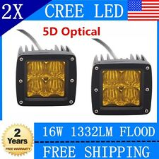 2x 3Inch 16W CREE LED Pod Light Driving Work Fog Light Flood Cube 5D Len Yellow