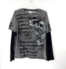 MMA Elite Mens 2XL Mixed Martial Arts Skull Graphic Gray Long Sleeve Shirt  EUC