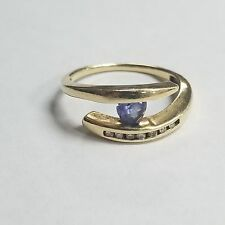 14k Yellow Gold Tanzanite Gemstone Ring Size 6.75 Jewelry CB-TNX46