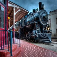 Steam Train Station Photography Backgrounds 6x6ft Vinyl Photo Backdrops