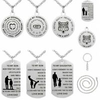 Engraved Stainless Steel Dog tag Pendant Necklace Keychain Mom Dad Birthday Gift