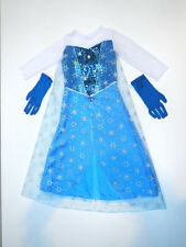 NEW + SIZE 8-10 M FROZEN ELSA COSTUME DRESS GOWN CAPE HALLOWEEN GIFT GIRL DISNEY