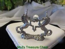 Duel Pewter Unicorns Figurine w Round Iridescent Crystal Sphere * w Gift Box *