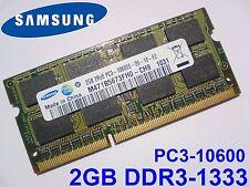 2GB DDR3-1333 PC3-10600 1333 Mhz SAMSUNG MEMORIA PORTATILE LAPTOP SODIMM RAM