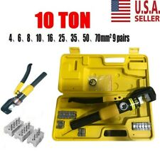 New Listing10 Ton Hydraulic Crimper Crimping Tool Wire Battery Cable Lug Terminal W 8 Dies