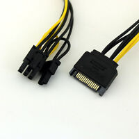 1x 20cm SATA 15 Pin Male to PCI-E Express 6+2 Pin 8Pin Video Power Adapter Cable
