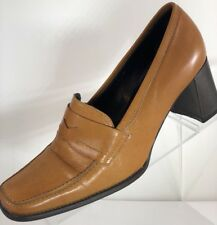 Kenneth Cole New York Women's Shoes Beige Penny Loafers Sz 6 Heel Made in Italy