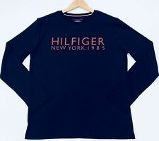 Tommy Hilfiger Men's Long Sleeve T Shirt With New York Print In Navy Size M