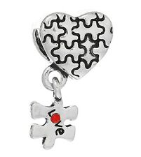 Heart Puzzle Autism Awareness Large Hole bead Fits European Charm Bracelet C44