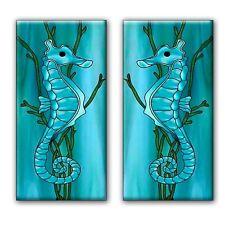 Set of 2 Seahoerse Art Nouveau ceramic wall tile 3 X 6 inches