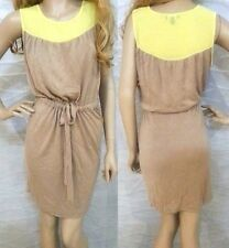 NWT bebe yellow brown contrast belt stretch sweater party top dress S small 4 6