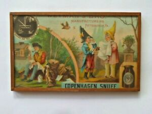 Copenhagen Snuff advertising card in frame with glass covers