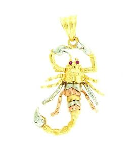 New 14k Solid Gold 3 Tone Tri Color Gold Motion Scorpion Pendant Charm