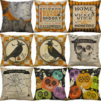 """18"""" Cushion Cover Cotton Linen Pillow Case Halloween Skull Sofa Home Decor"""