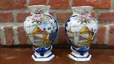 DELFT.Paire de vases en faience polychrome. XVIIIème  Antique dutch Delft vase