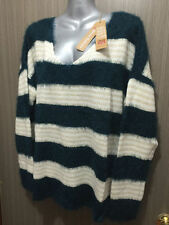 Polyester V-Neck Striped Jumpers & Cardigans for Women