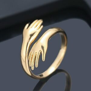 GOLD PLATED ADJUSTABLE FINGER  RING FOR WOMEN  HUG DOUBLE HAND