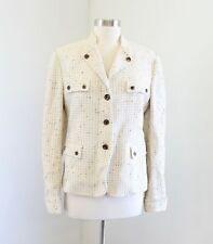 Belvest Italy Womens Cream Tan Tweed Blazer Jacket Size 46 Utility