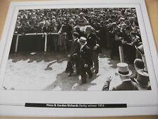 EPSOM DERBY - PINZA WITH GORDON RICHARDS 1953  : 10X8 PRINT (25cm x 20cm)