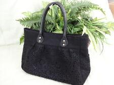Black Felt Floral Cut Work Handbag Purse - Handles - Medium Size - P015