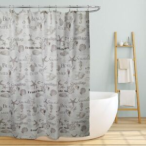 Brown White Fabric Shower Curtain Seashell Coastal Fish Beach Bathroom 70 x 70